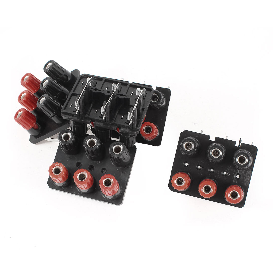 5 Pcs Dual Row Wall-Plated Speaker 6 Position 6 Curved Pin Binding Post Black Red