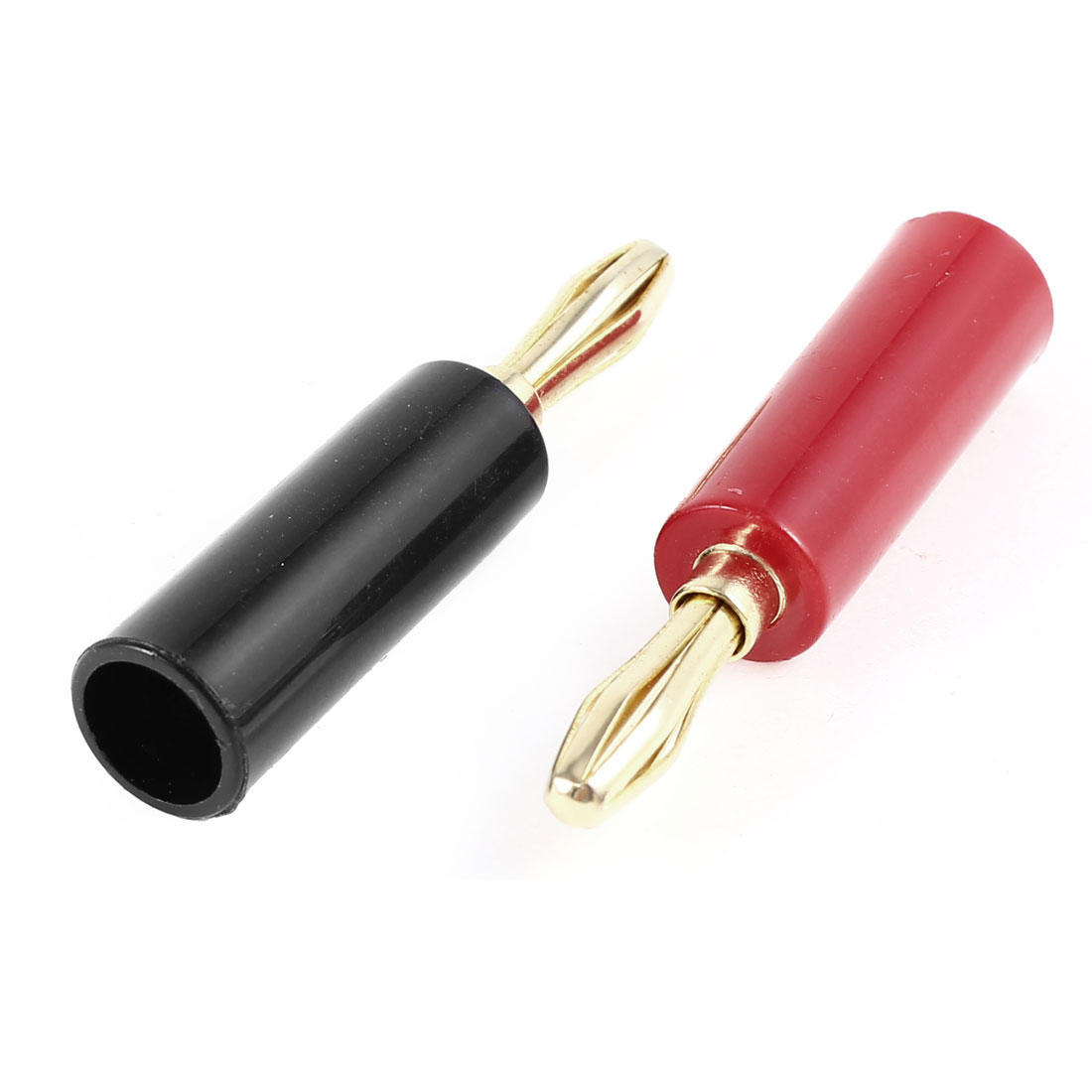 Audio Speaker Cable Red Black Screw Design Banana Adapter Connector 2 Pcs