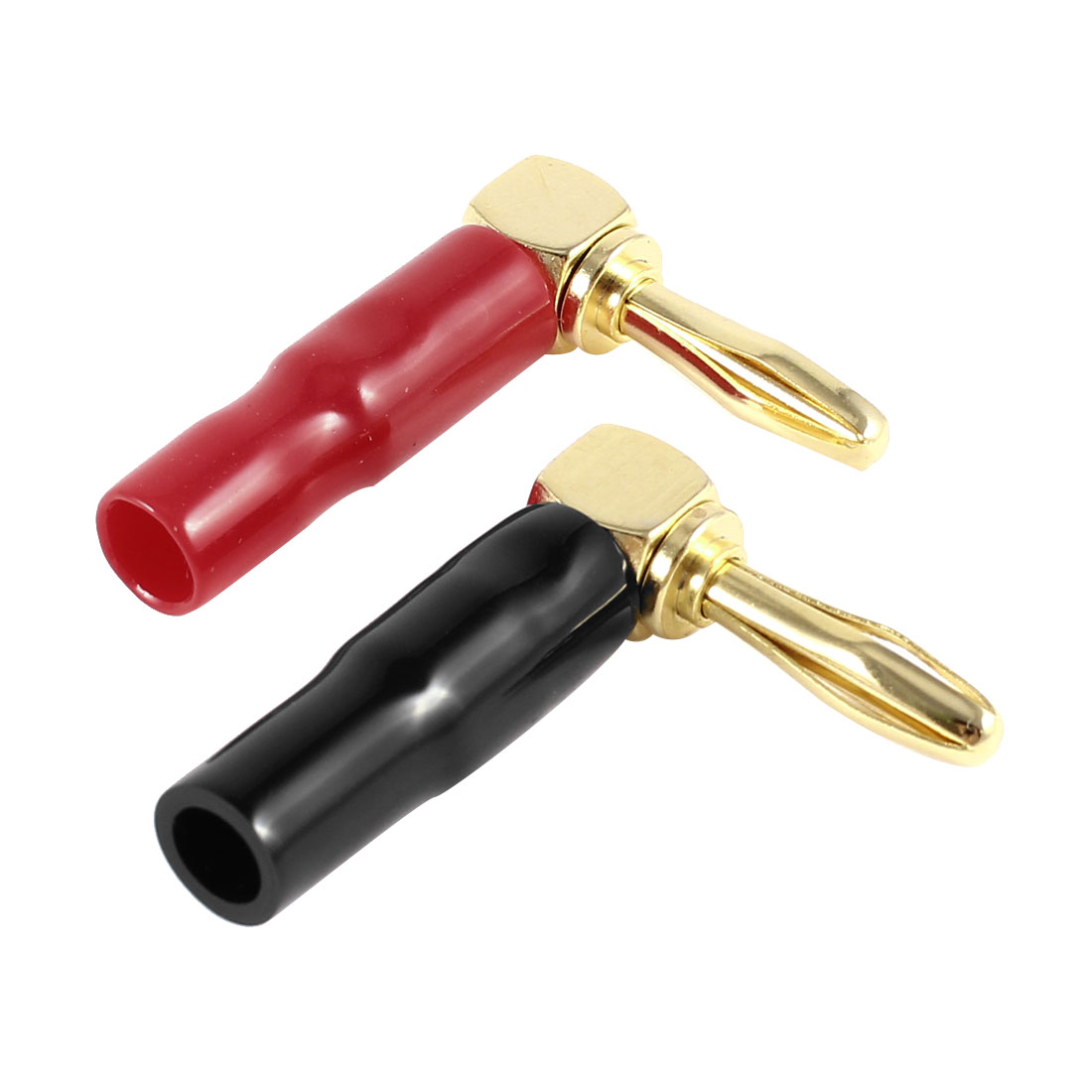 Audio Speaker Cable Connector Right Angle Screw Type Banana Plug Red Black 2 Pcs