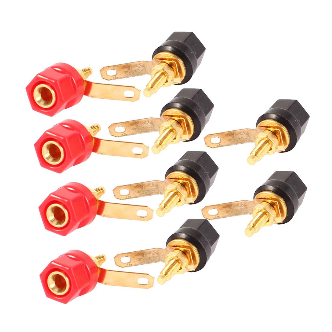 10 Pcs Red Black Hex Cap Speaker Amplifier 4mm Banana Binding Post Connector