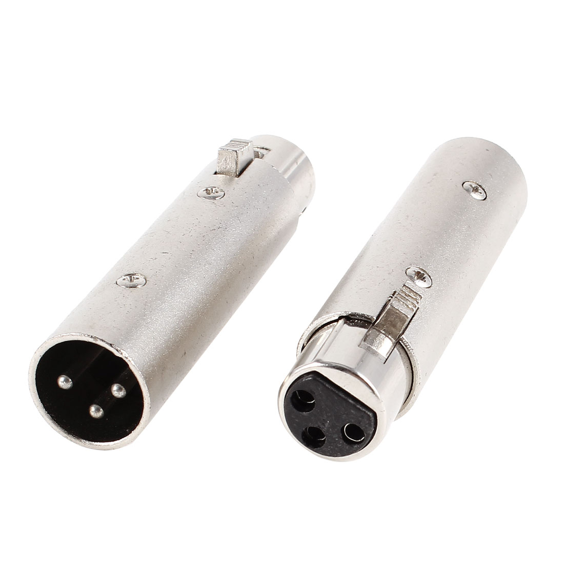 2 Pcs Female to Male XLR 3 Terminals Microphone Connector Adapter Black Silver Tone