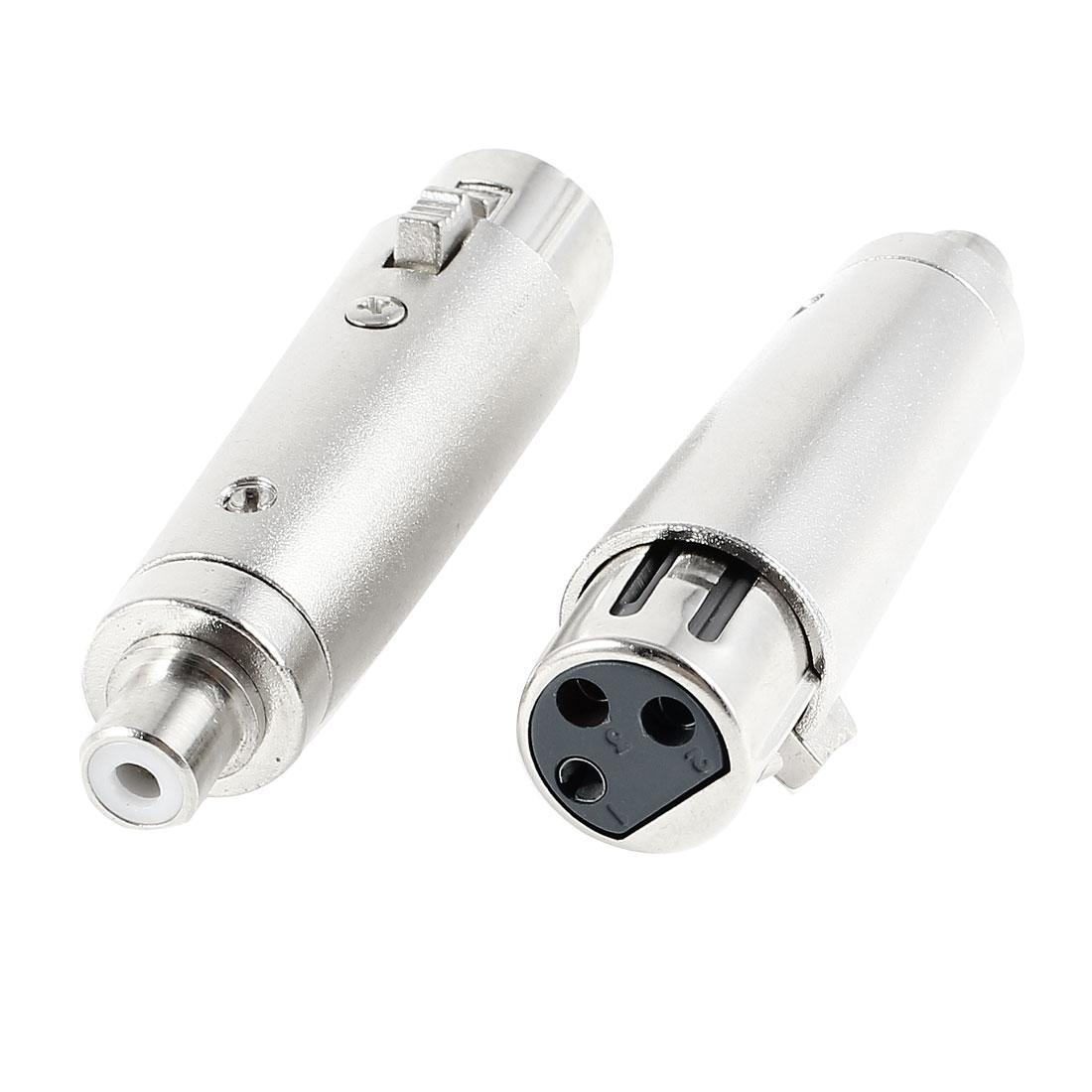 2 Pcs Silver Tone RCA Female Scoket to 3-Pin XLR Female Audio Signal Converter