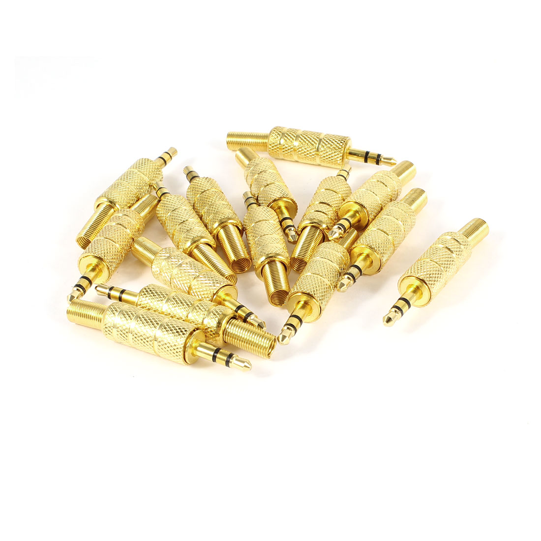 "DIY 3.5mm 1/8"" Male Gold Plated Mono Audio Adapter Connector 15 Pcs"