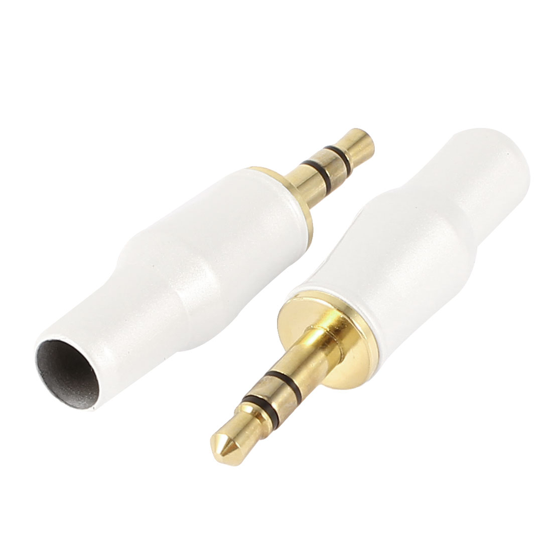 Gold Tone White 3.5mm Stereo Audio Connector Soldering Adapter 2 Pcs