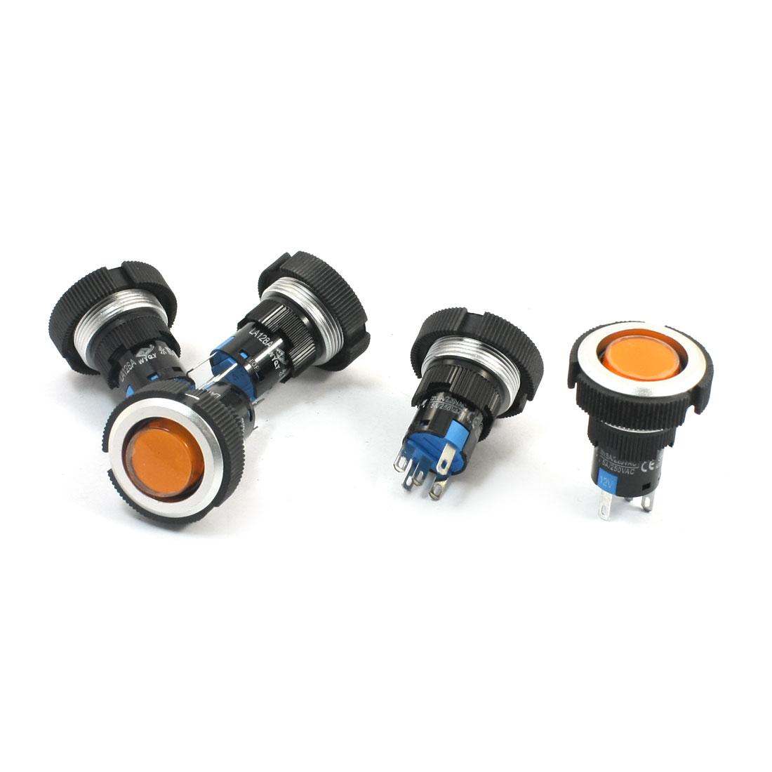 5 Pcs 12V 22mm Thread Panel Mount SPDT 1NO 1NC 5Pin Soldering Locking Orange Pilot Lamp Pushbutton Switch