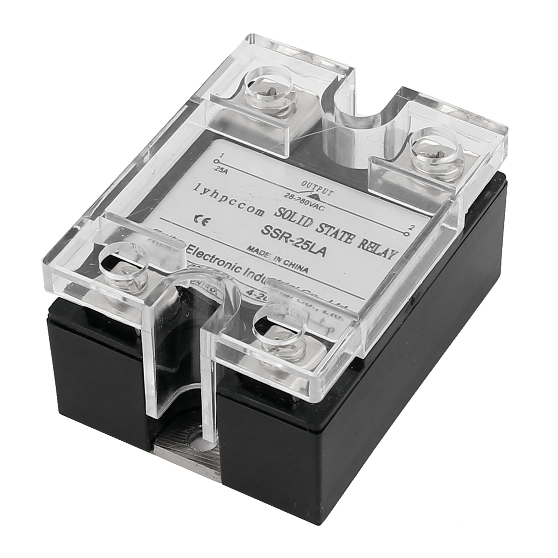 SSR-25LA 4-20mA Input AC 28-280V 25A Output 4 Screw Terminal Single Phase Clear Cover SSR Solid State Relay