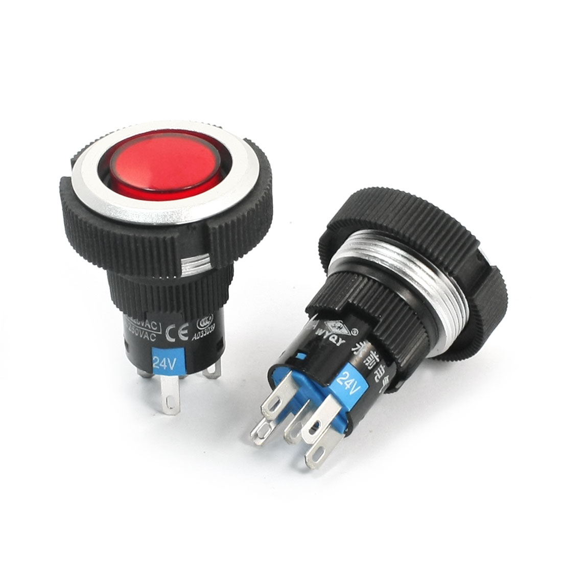 2Pcs 24V 22mm Thread Panel Mount SPDT 5Pin 1NO 1NC Momentary Red Pilot Lamp Plastic Push Button Switch
