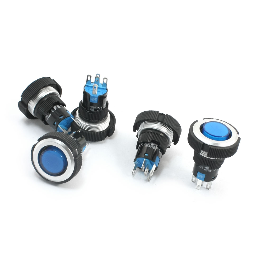 5Pcs 24V 22mm Thread Panel Mount SPDT 1NO 1NC 5Pin Soldering Momentary Action Blue Pilot Lamp Push Button Switch