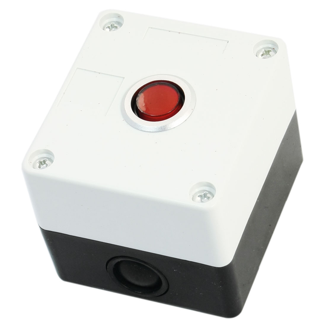AC 220V 5A Red Pilot Lamp SPDT 5-Pin 1NO 1NC Momentary Rectangle Plastic Push Button Control Station Box AC220V 5A