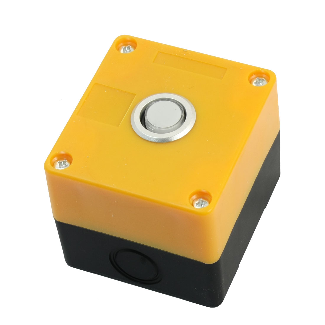 White LED 12V Pilot Lamp AC 250 Volt 5A SPDT 5 Terminals Self-locking Single Hole Pushbutton Push Button Yellow Plastic Control Station Box