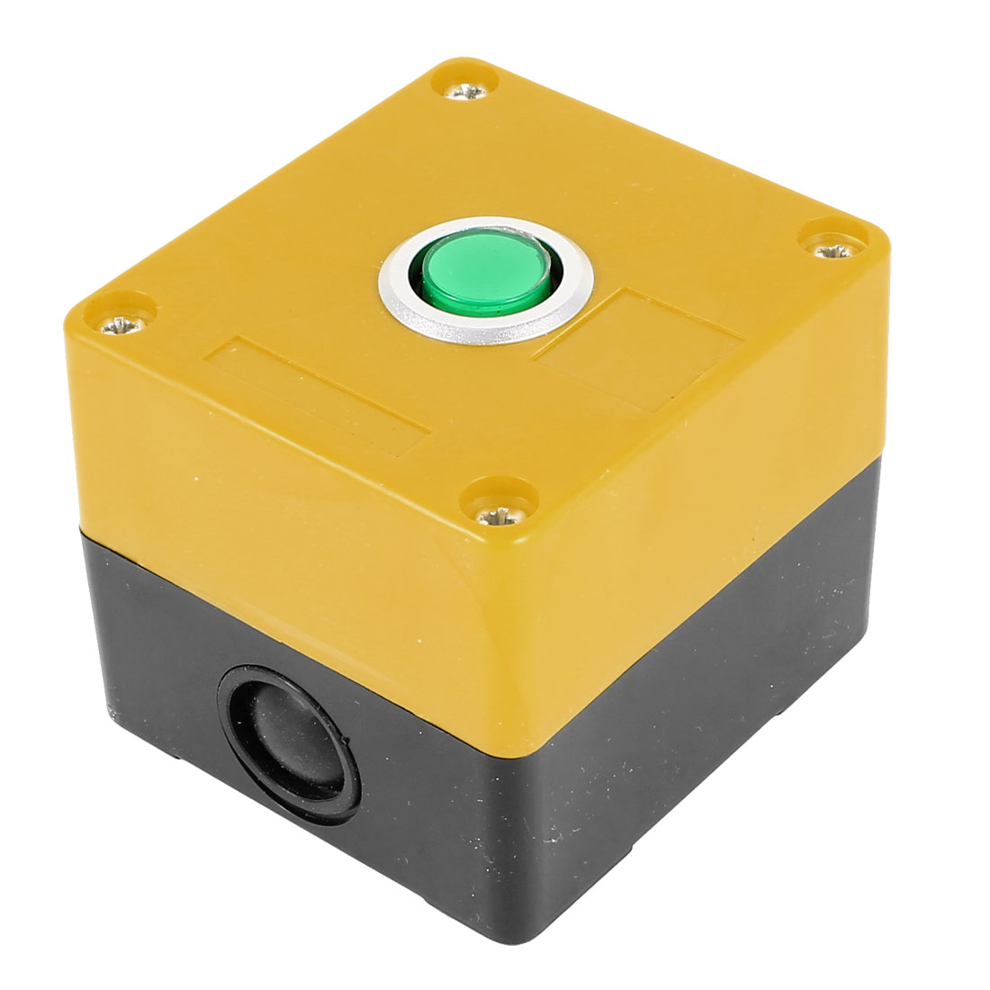 DC 24V Green Light Lamp SPDT 1 NO 1 NC 5-Pin Soldering Self-Latching Action Push Button Control Station Box