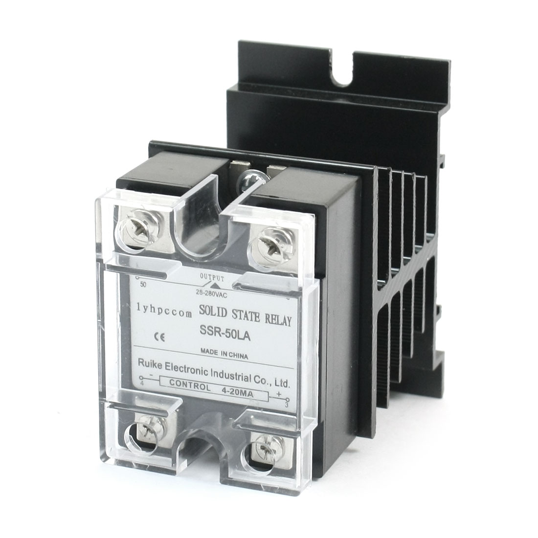 SSR-50LA 4-20mA to AC 28-280V 50A 4 Screw Terminal Single Phase Aluminum Heatsink SSR Solid State Relay w Cover