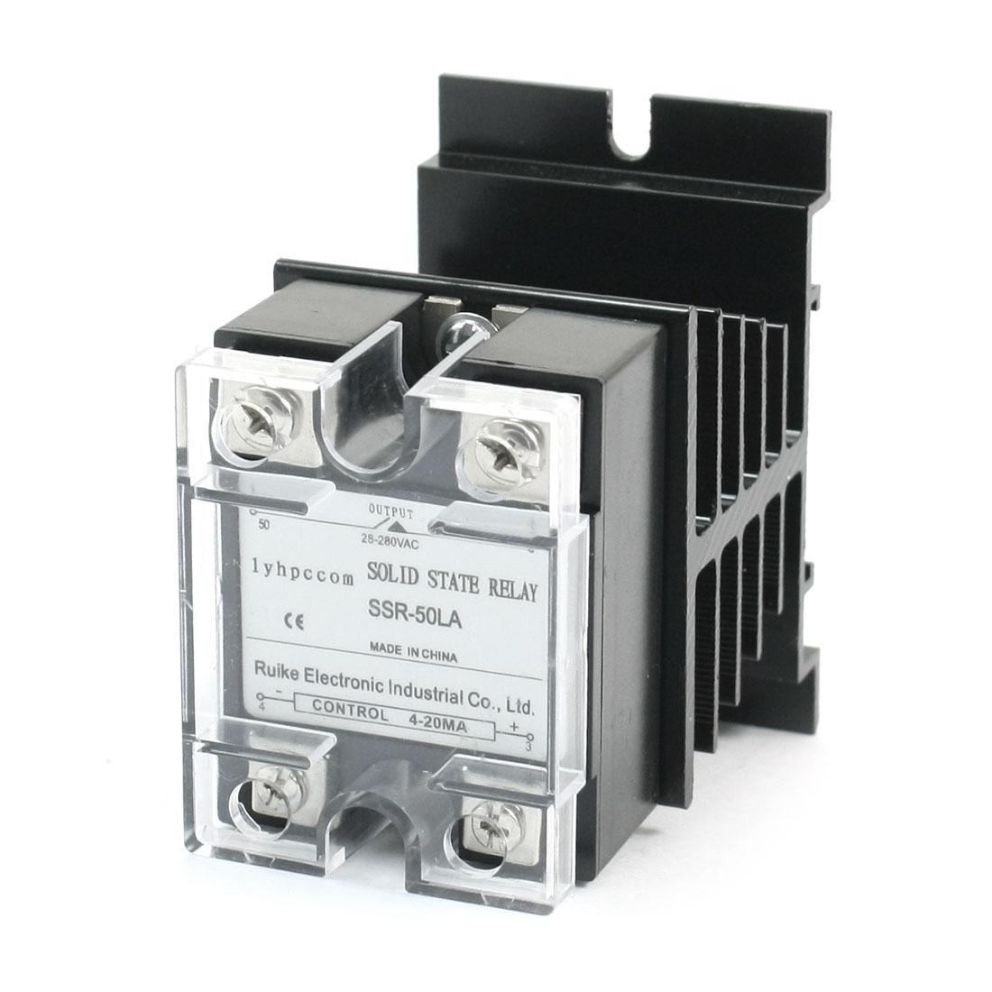 SSR-50LA 4-20mA to AC 28-280V 50A 4 Screw Terminal Single Phase Aluminum Heatsink SSR Solid State Relay w Cover
