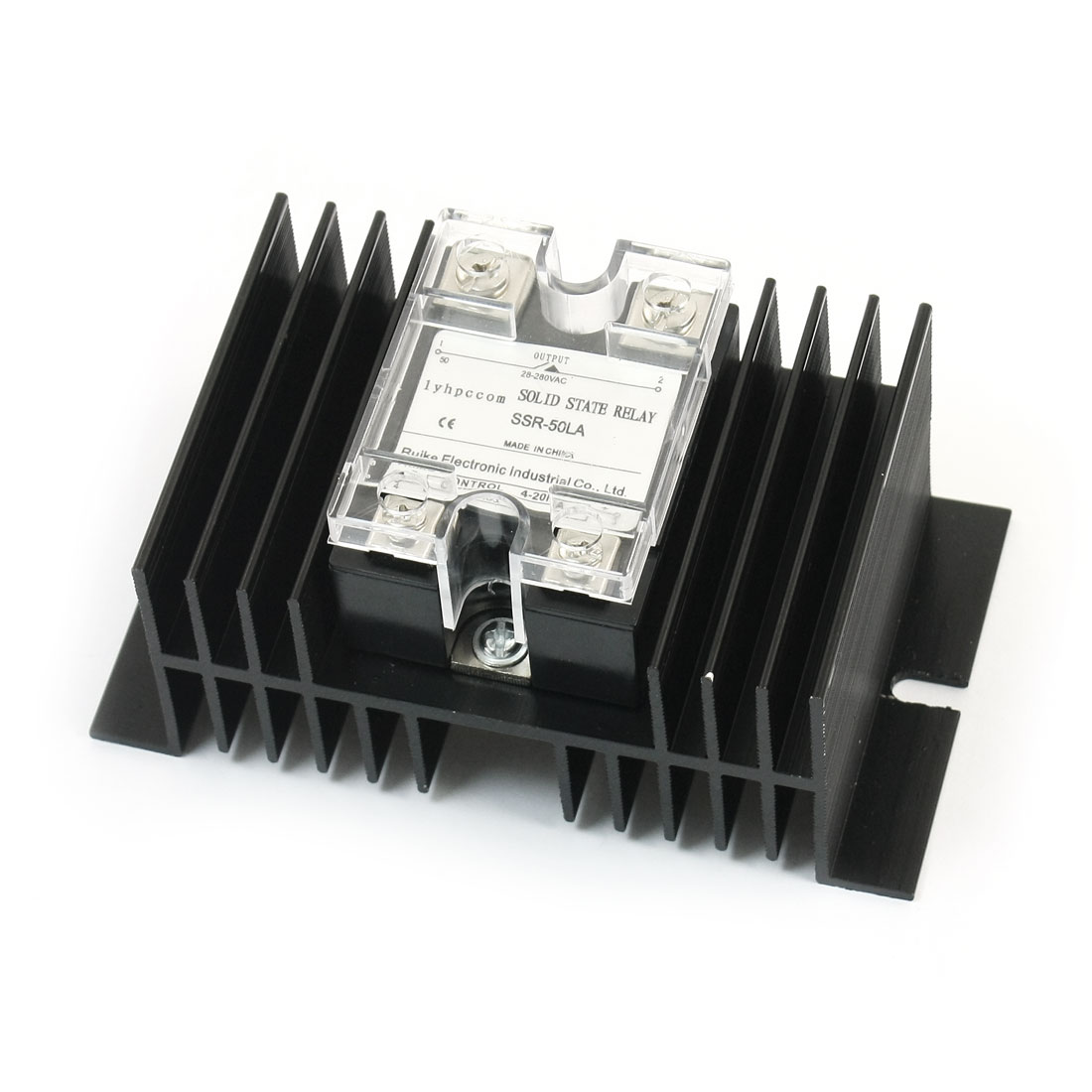 4-20mA to AC28-280V 50A Current Control 4 Screw Terminal Single Phase Black Aluminum Heatsink Solid State Relay