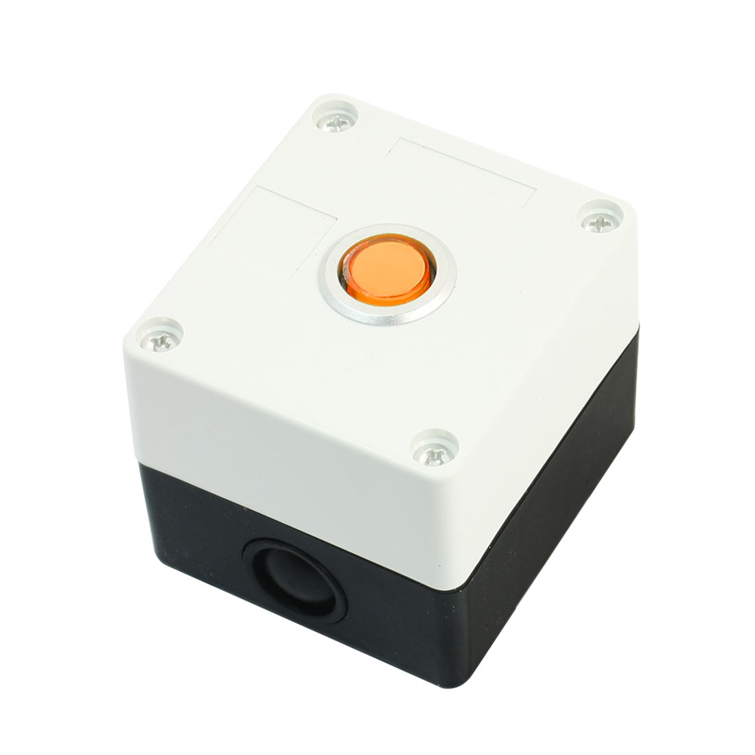 AC 220V 5A Orange Pilot Lamp SPDT 1NO 1NC 5Pin Momentary Action Rectangle Plastic Push Button Station Switch Control Box