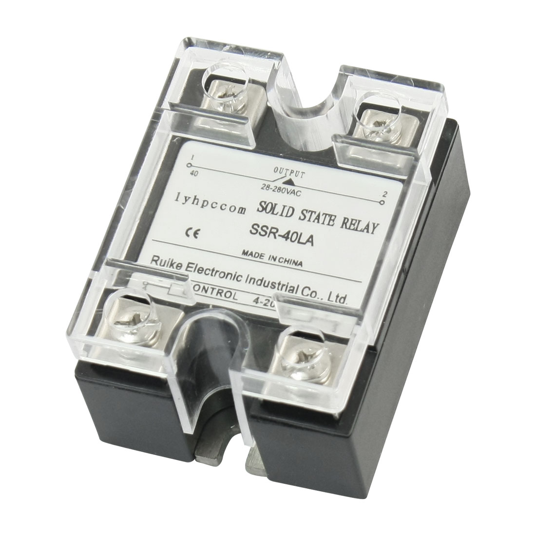 4-20mA Input AC 28-280V 40A Output 4 Screw Terminal Single Phase SSR Solid State Relay w Clear Cover