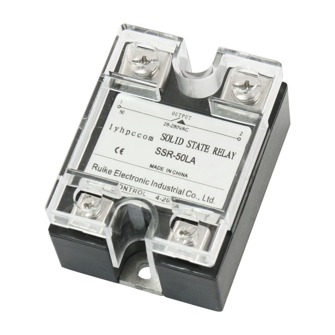 SSR-50LA 4-20mA Input AC 28-280V 50A Output 4 Screw Terminal Single Phase Clear Cover SSR Solid State Relay