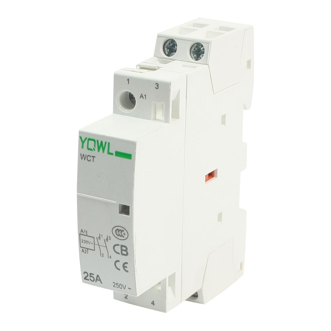 AC220-240V Coil Voltage 35mm DIN Rail Mount 2-Pole Universal Purpose Household Contactor Family Modular 25Amp