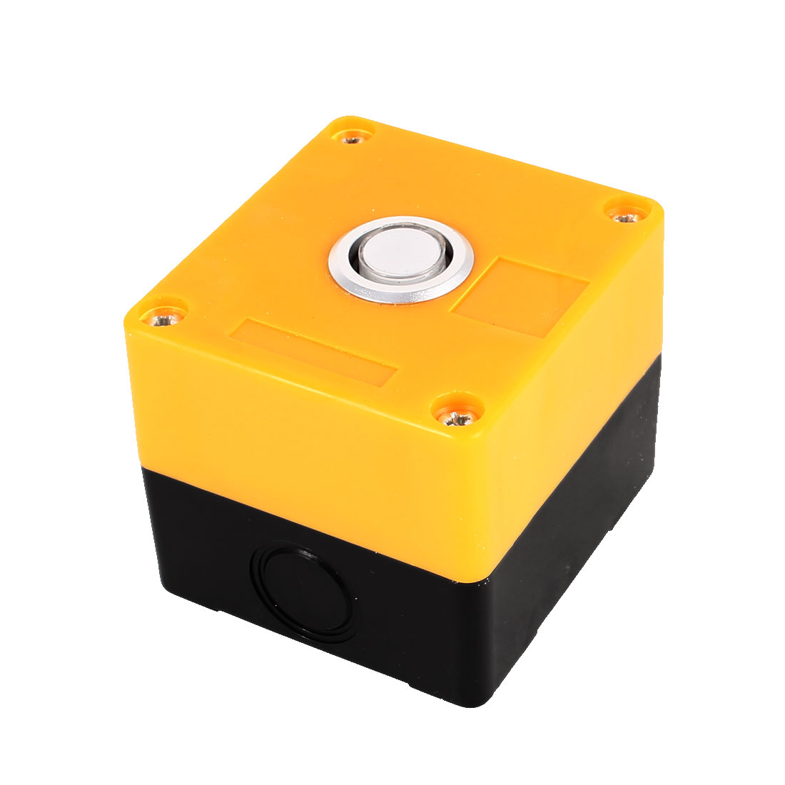 AC 220V Warm White Light SPDT 1 NO 1 NC 5 Termianls Soldering Self-Locking Type Push Button Control Station Box