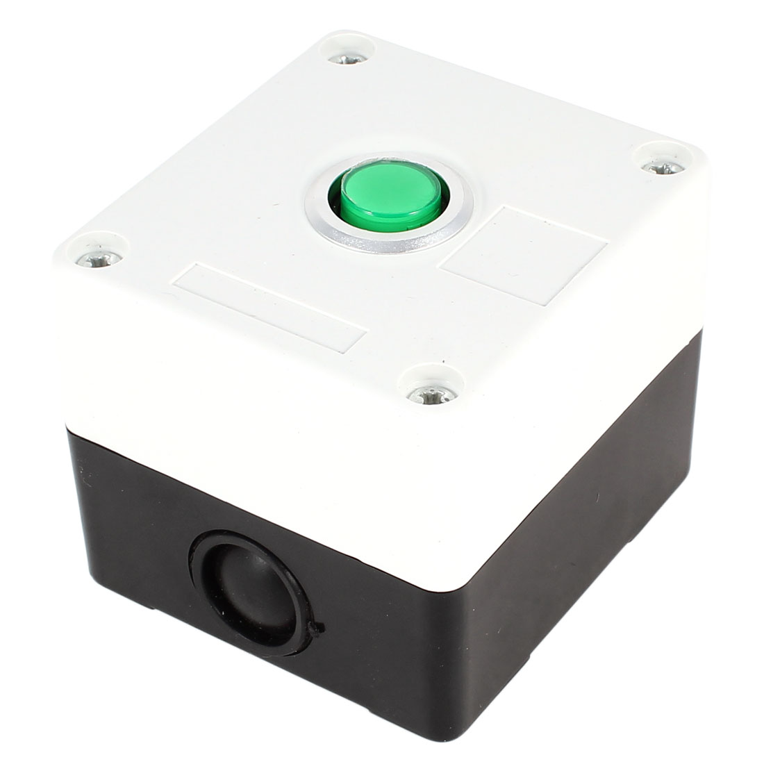 AC 220V 5A SPDT 1 NO 1 NC 3 Termianls Soldering Self-Locking Green Button Pushbutton Control Station Box