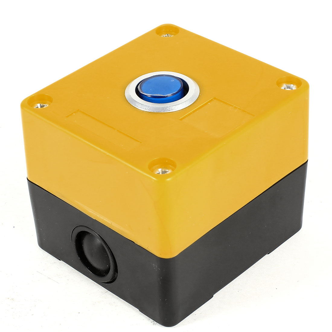 AC 220V 5A Blue Round Button SPDT 1NO 1NC 3 Pins Soldering Self-Locking Plastic Pushbutton Station Switch Control Box