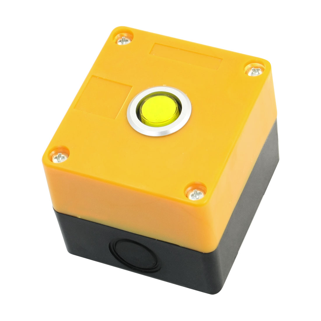AC 220V 5A Yellow Pilot Lamp SPDT 5Pin 1NO 1NC Momentary Action Rectangle Plastic Push Button Station Switch Control Box
