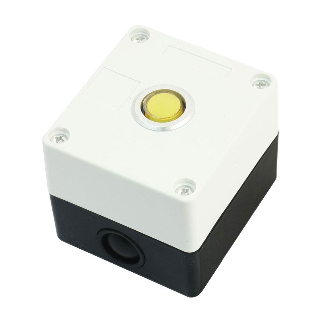 DC 24V Yellow Light Lamp SPDT 1 NO 1 NC 5-Pin Soldering Latching Action Push Button Station Box