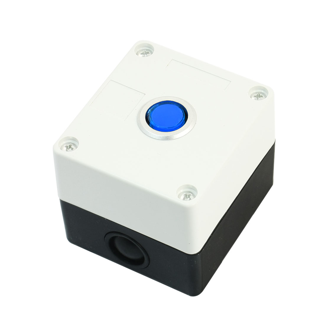 AC 220V 5A SPDT 5Pin 1NO 1NC Momentary Blue Pilot Lamp Rectangle White Plastic Push Button Station Switch Control Box