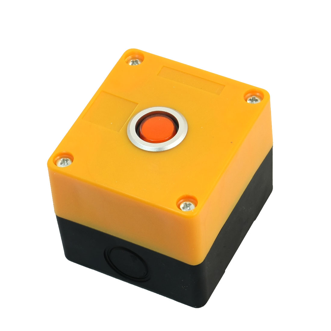Orange 220V Pilot Lamp AC 250 Volt 5A SPDT 5 Terminals Self-locking Single Hole Pushbutton Push Button Yellow Plastic Control Station Box