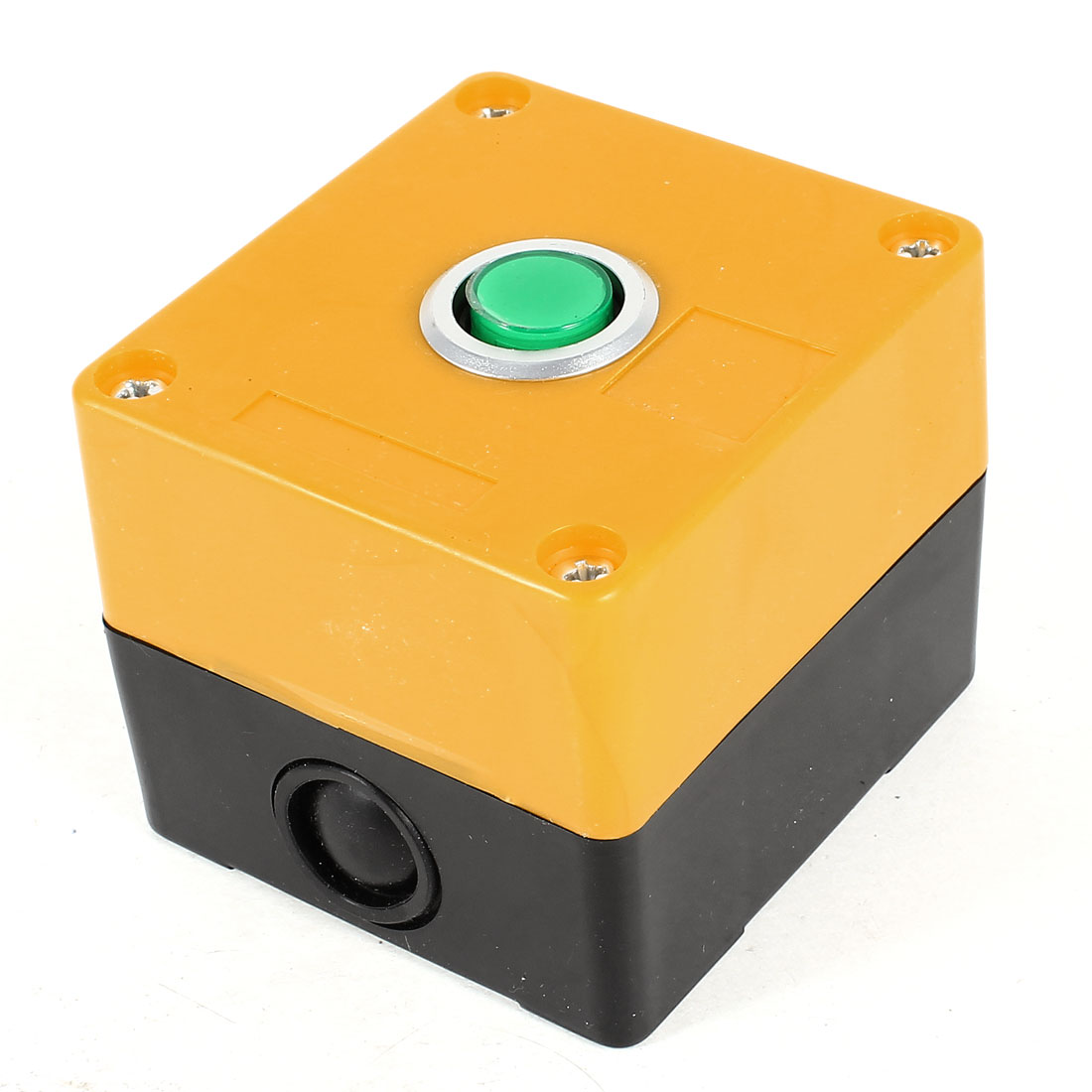 AC 220V 5A SPDT 1NO 1NC 3-Pin Self-Locking Green Button Black Yellow Plastic Pushbutton Station Switch Control Box