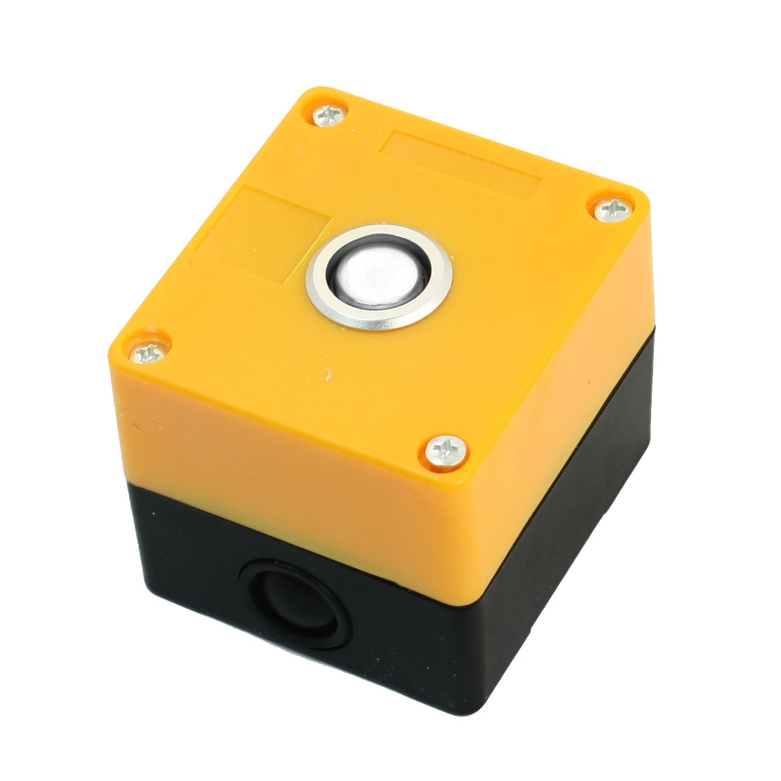 AC220V 5A SPDT 1NO 1NC Momentary Warm White Lamp Rectangle Yellow Plastic Case Push Button Station Switch Control Box