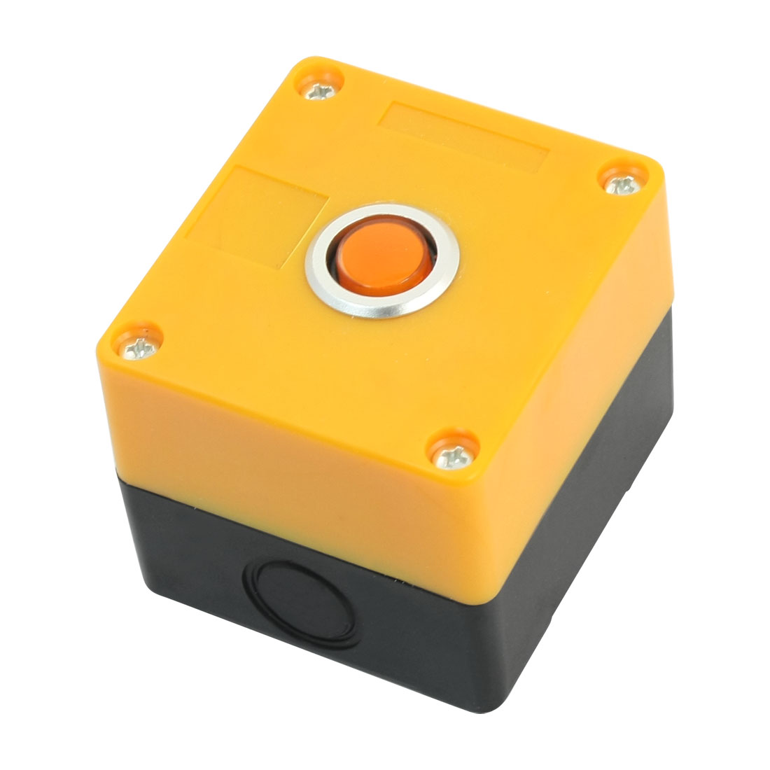 AC220V 5A SPDT 1NO 1NC 5Pin Momentary Action Orange Light Rectangle Yellow Plastic Case Push Button Control Station Box