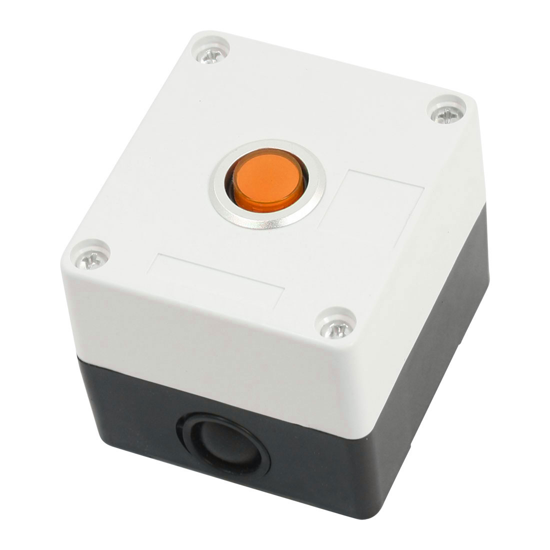 AC 220V 5A Orange Pilot Lamp SPDT 1NO 1NC 5-Pin Self-Locking Rectangle Plastic Push Button Control Station Box