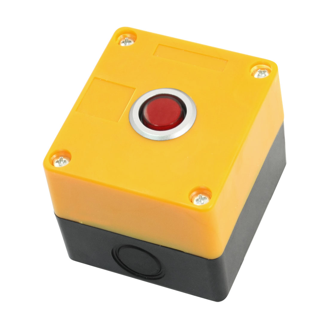 AC220V 5A Red Lamp SPDT 5Pin 1NO 1NC Self-Locking Rectangle Yellow Plastic Case Push Button Station Switch Control Box