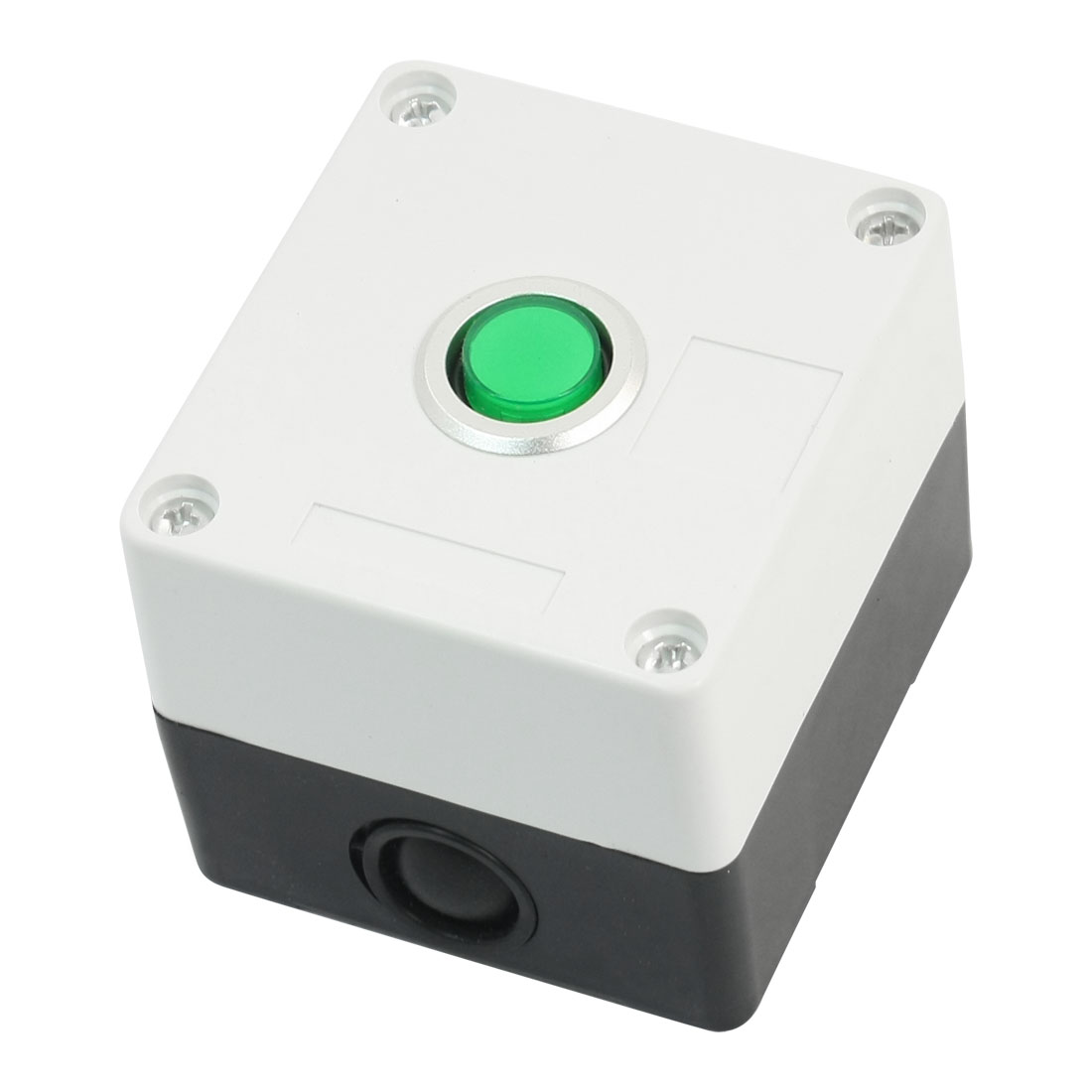 AC 220V 5A Green Light SPDT 1NO 1NC 5-Pin 1NO 1NC Latching Actuator Rectangle Plastic Case Push Button Switch Station Box