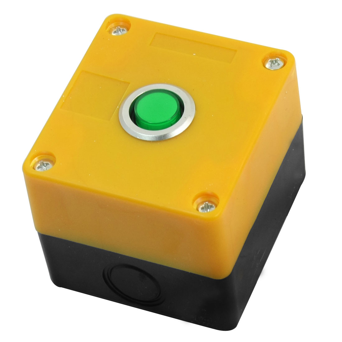 AC220V 5A SPDT 5-Pin 1NO 1NC Latching Green Pilot Lamp Rectangle Yellow Plastic Case Push Button Control Station