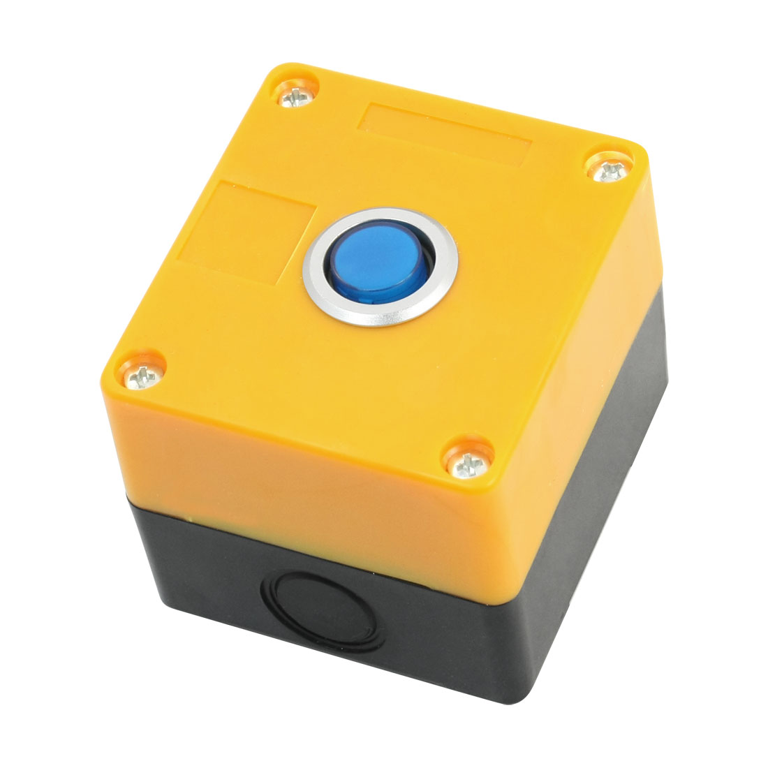 Blue 12V Pilot Lamp AC 250 Volt 5A SPDT 5 Terminals Momentary Single Hole Pushbutton Push Button Yellow Plastic Control Station Box