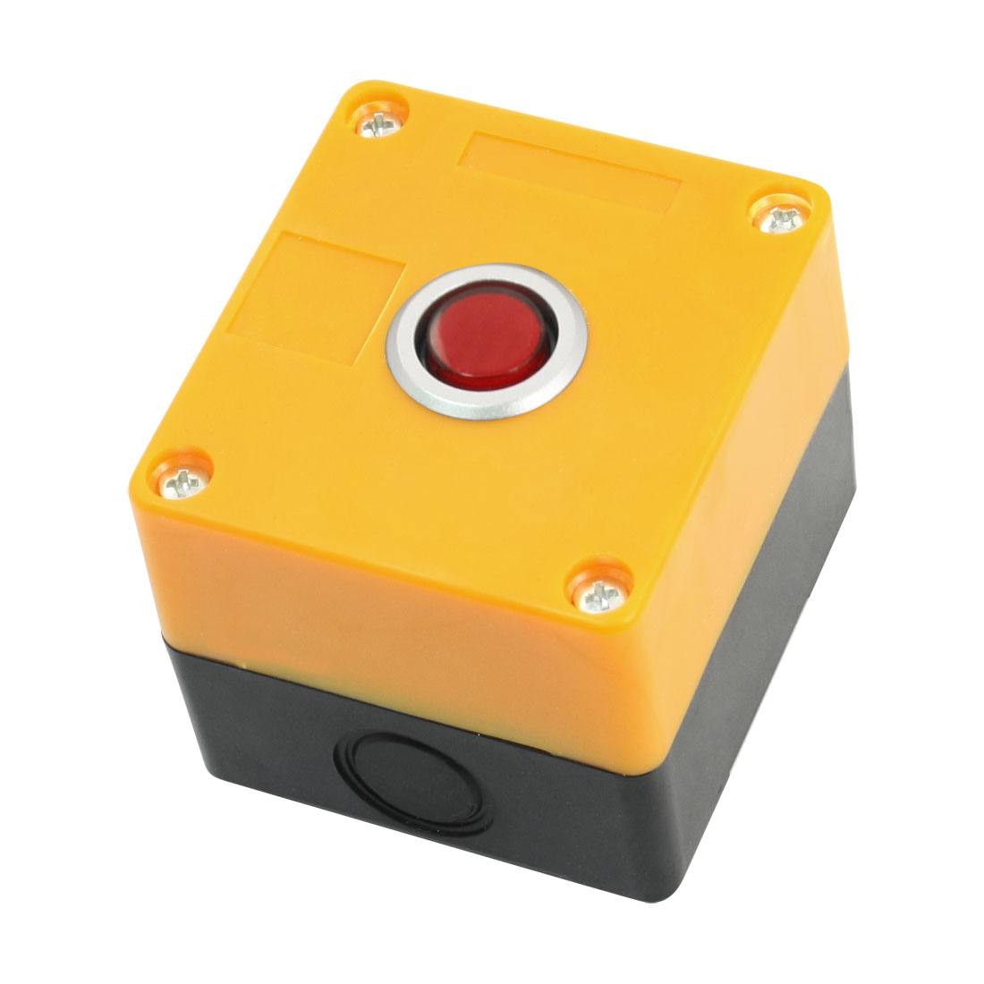 AC220V 5A SPDT 5Pin 1NO 1NC Momentary Action Red Lamp Yellow Rectangle Plastic Case Push Button Station Switch Control Box