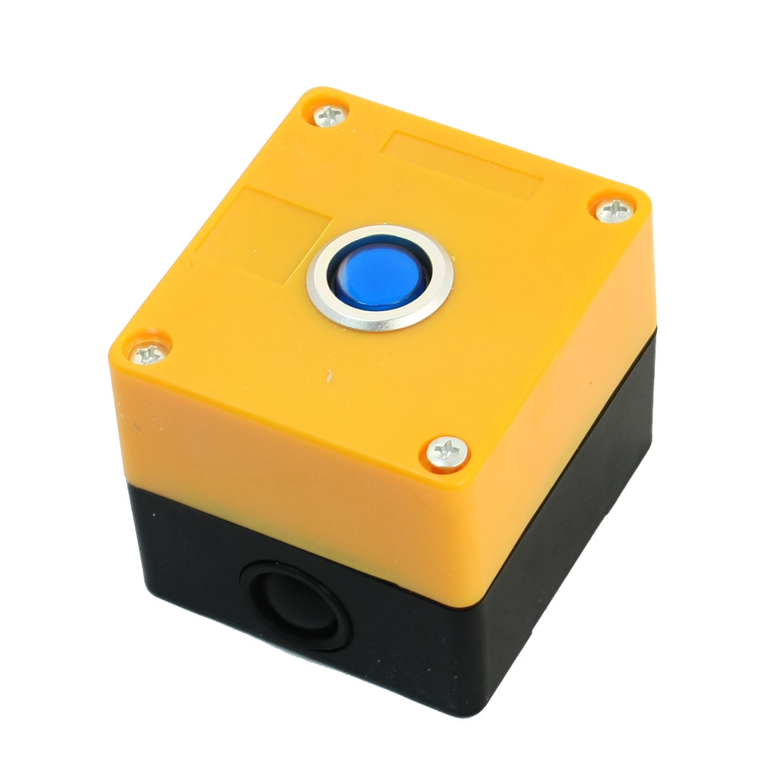 AC 220V 5A SPDT 5Pin 1NO 1NC Momentary Action Blue Cap Rectangle Yellow Plastic Push Button Station Switch Control Box