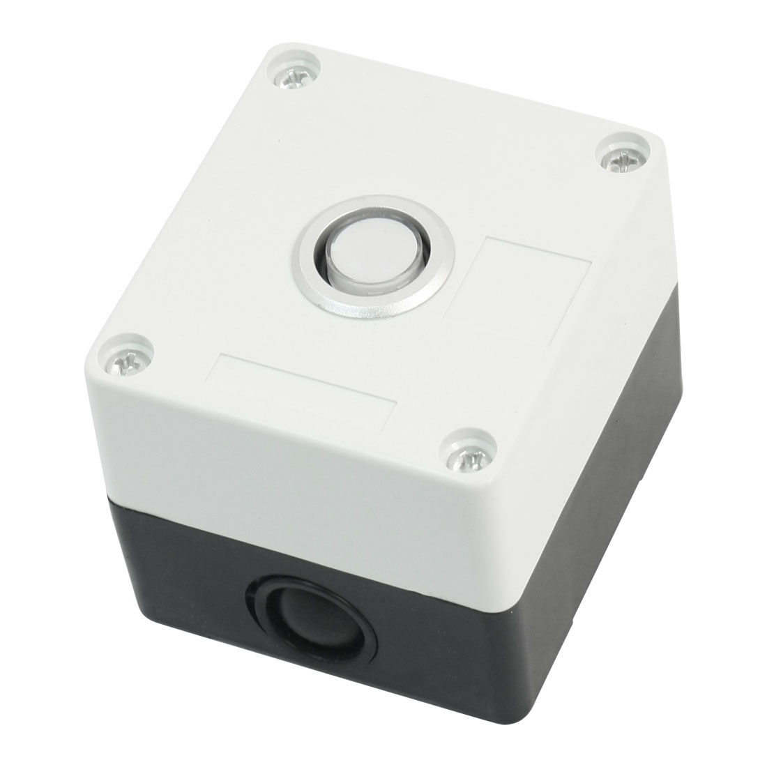 AC 220V 5A Warm White Pilot Lamp SPDT 1NO 1NC 5-Pin Self-Locking Rectangle Plastic Push Button Control Station Box