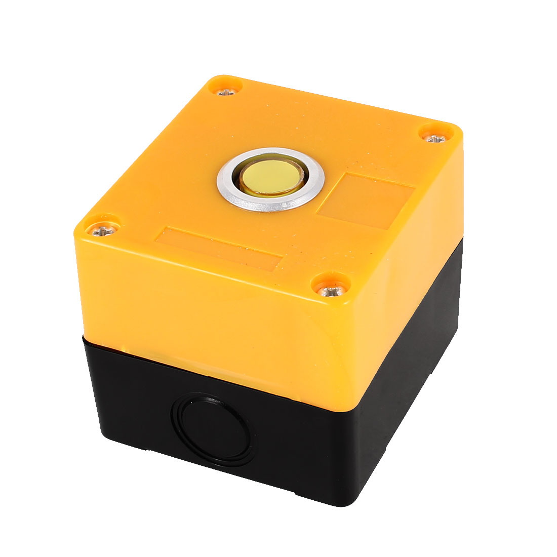 AC 220V Yellow Light SPDT 1 NO 1 NC 5 Pin Soldering Self-Latching Action Push Button Station Box