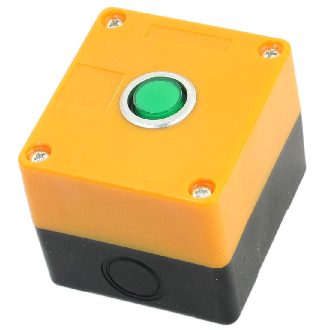 AC 220V 5A Green Pilot Lamp SPDT 1NO 1NC 5 Pins Self-locking Yellow Plastic Case Push Button Control Station Box