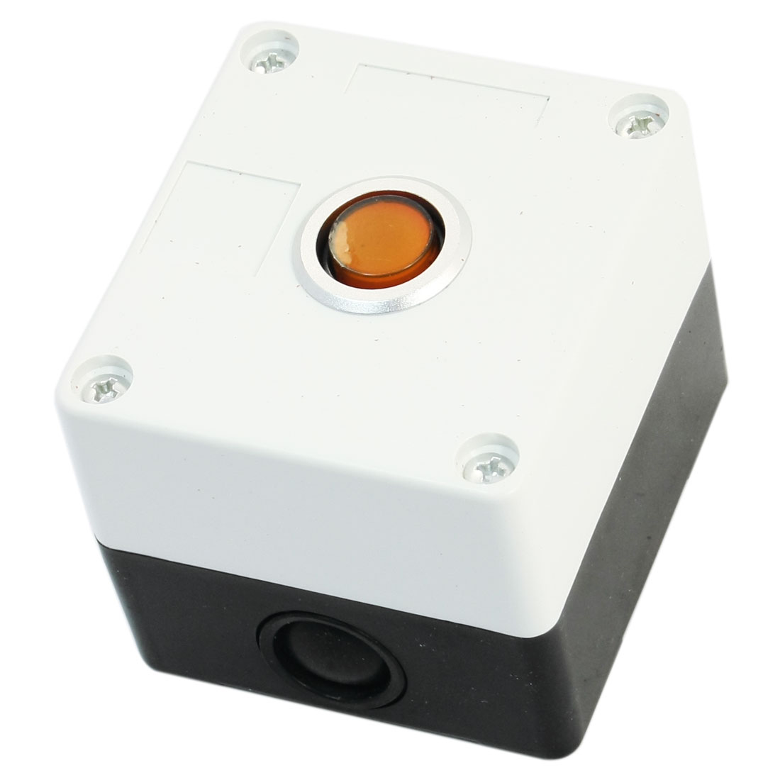 Orange Pilot Lamp SPDT 5-Pin 1NO 1NC Self-Locking Rectangle Plastic Push Button Station Switch Control Box AC220V 5A