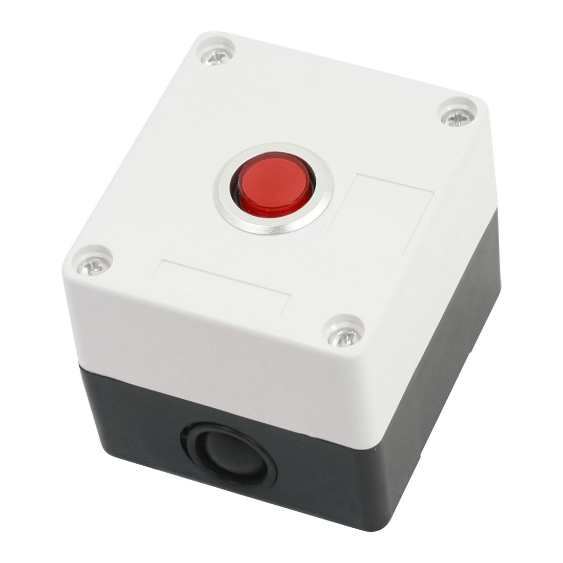 Red 12V Pilot Lamp AC 250 Volt 5A SPDT 5 Terminals Momentary Single Hole Pushbutton Push Button Rectangle Plastic Control Station Box