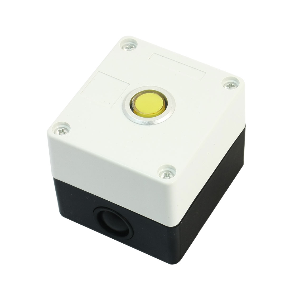 220V 15mm Dia Round Button 2 Pin Rectangle Plastic Case Yellow Accident Signal Indicator Light Pilot Lamp Blub Box