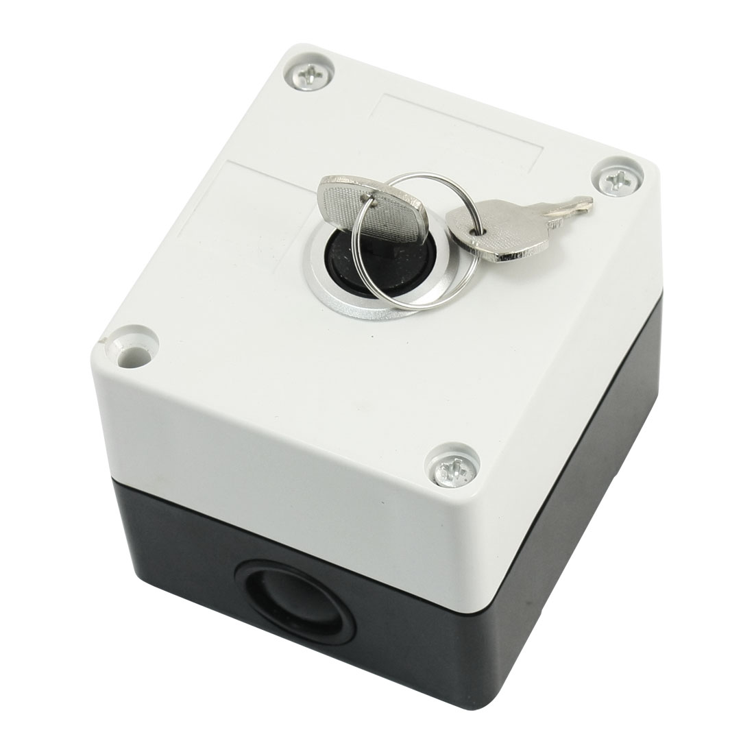 AC220V 5A SPDT 1NO 1NC 3-Pin 2-Position Rectangle White Plastic Case Keys Rotary Selector Switch Control Station Box