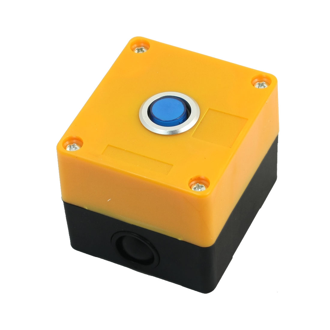 AC 220V 5A Blue Lamp SPDT 1NO 1NC 5-Pin Momentary Rectangle Plastic Case Push Button Station Switch Control Box