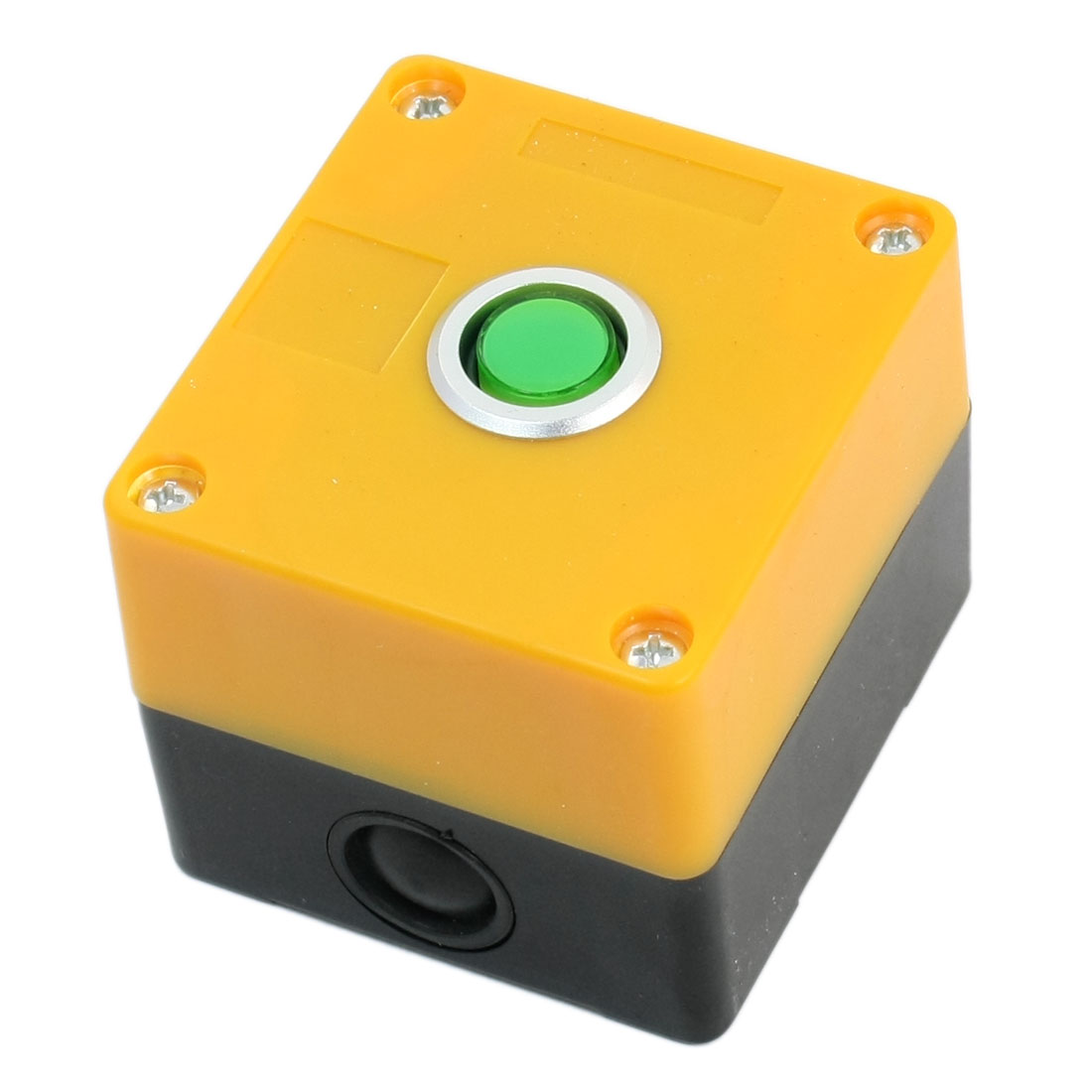 Yellow Housing 220V SPDT 5-Pin Momentary Green Lamp Station Control Push Button Switch