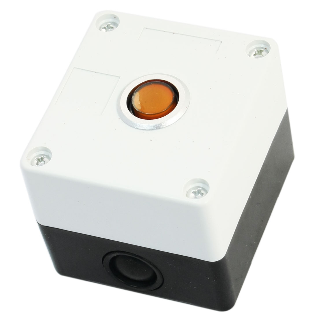 AC 220V 5A SPDT 1NO 1NC 3Pin Locking Orange Button Rectangle White Plastic Case Pushbutton Station Switch Control Box