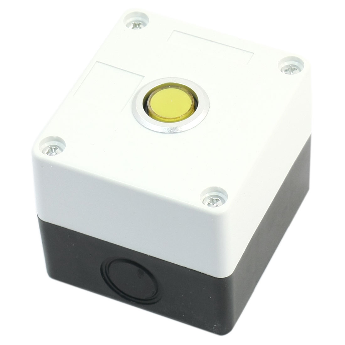 12V 15mm Dia Yellow Round Button 2-Terminals Rectangle White Plastic Case Signal Indicator Light Pilot Lamp Bulb w Box